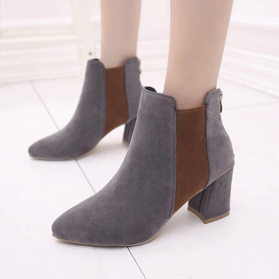Zipper Daily Chunky Heel Pointed Toe Suede Boots On Sale_7