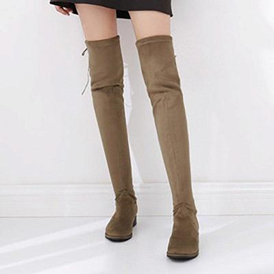 Suede Chunky Heel Buckle Boot On Sale_3