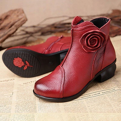 Daily Flower Round Toe Zipper Chunky Heel Boots On Sale_3