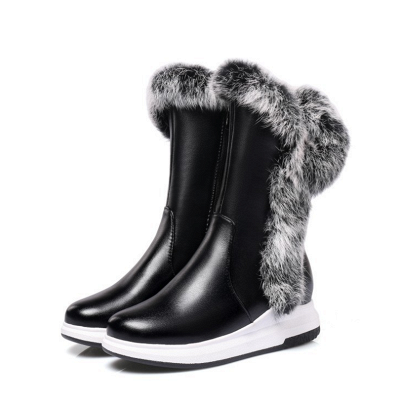 Wedge Heel Daily Zipper Round Toe Boots On Sale_4