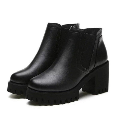 Daily Zipper Chunky Heel Round Toe Suede Boots On Sale_5