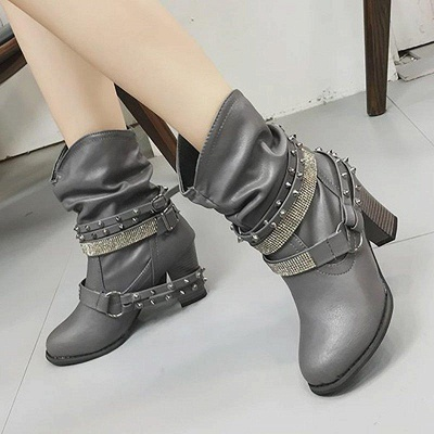 Rivet Chunky Heel Daily Pointed Toe Boots On Sale_3