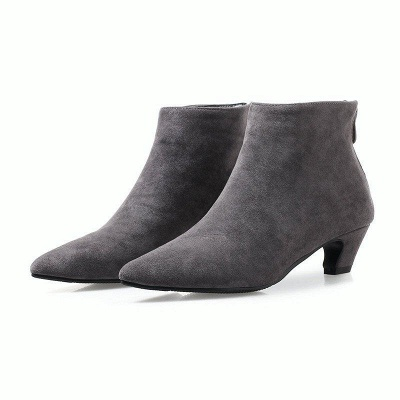 Chunky Heel Zipper Daily Pointed Toe Elegant Boots On Sale_3