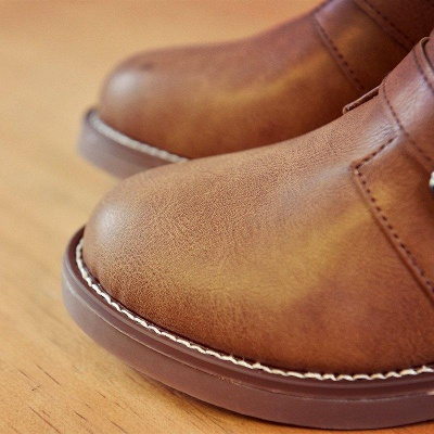 Zipper Daily Chunky Heel Round Toe Boots On Sale_8