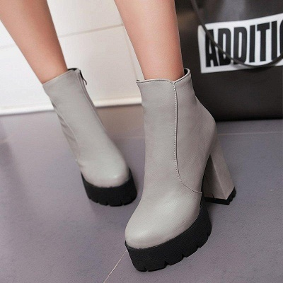 Chunky Heel Daily Zipper Round Boots On Sale_5