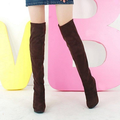 Suede Fall Daily Cone Heel Round Boots On Sale_4