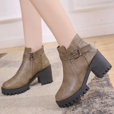 Zipper Daily Round Toe Buckle Chunky Boots On Sale_2