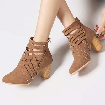 Zipper Pointed Toe Chunky Boots On Sale_6