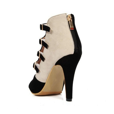 Suede Cone Heel Zipper Lace-up Peep Toe Boots On Sale_11