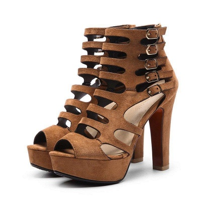 Suede Stiletto Heel Dress Lace-up Sexy Peep Boots On Sale_5