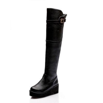 Women's Boots Wedge Heel Black Round Toe Boots On Sale_2