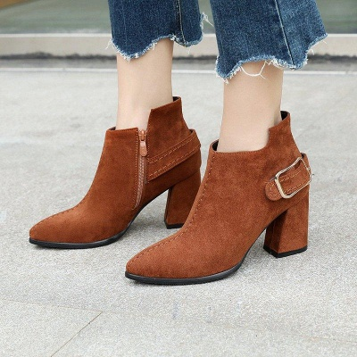Daily Chunky Heel Suede Elegant Round Toe Boots On Sale_3