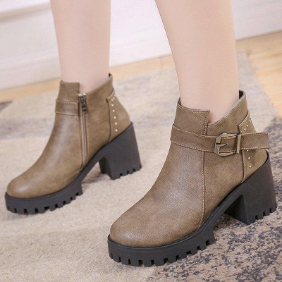 Zipper Daily Round Toe Buckle Chunky Boots On Sale_3