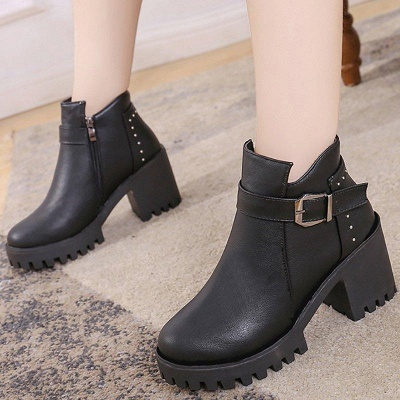 Zipper Daily Round Toe Buckle Chunky Boots On Sale_1