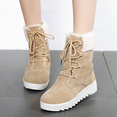 Winter Daily Wedge Heel Lace-up Boots On Sale_3