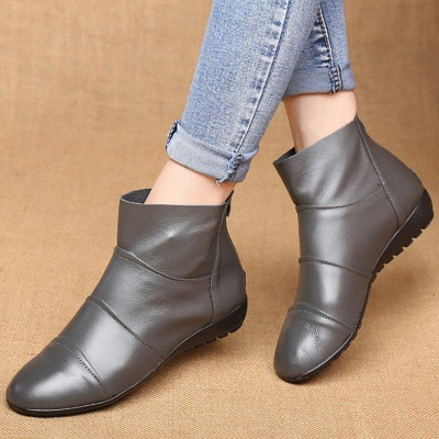 Daily Zipper Flat Heel Pointed Toe Boots On Sale_4
