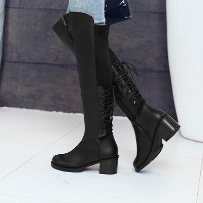 Lace-up Dress Round Toe Elegant Chunky Heel Boots On Sale_3