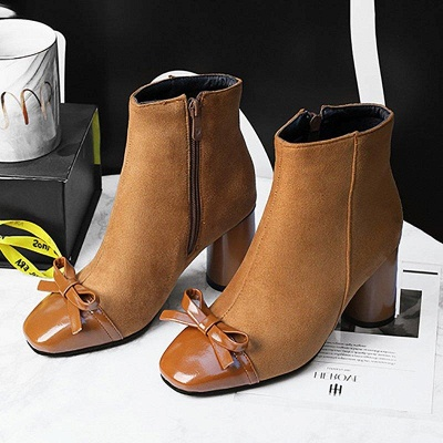 Daily Zipper Square Toe Bowknot Chunky Boots On Sale_2