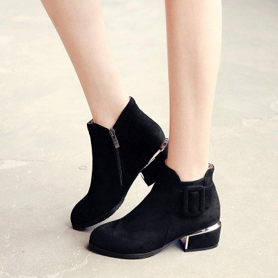 Chunky Heel Suede Button Boots On Sale_6
