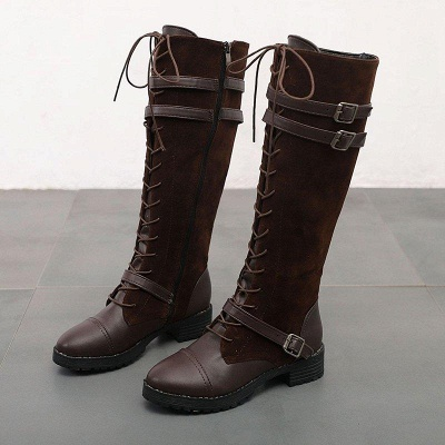 Daily Buckle Chunky Heel Suede Round Toe Boots On Sale_6