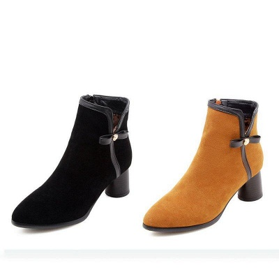 Daily Chunky Heel Zipper Pointed Boots On Sale_6