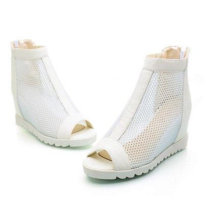 Zipper Daily Peep Toe Wedge Heel Boots On Sale_1