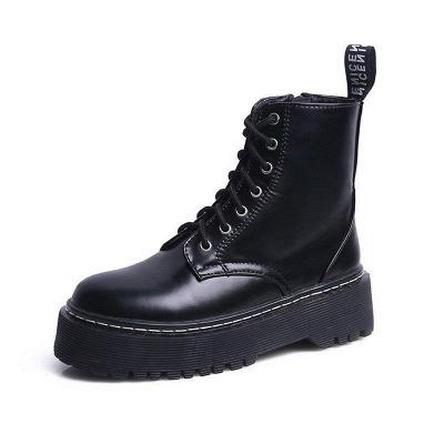 Platform Lace-up Round Boots On Sale_8