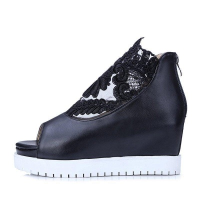 Zipper Hollow-out Wedge Heel Elegant Boots On Sale_5
