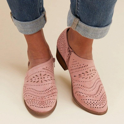 Hollow-out Low Heel Summer Faux Suede Boot On Sale_19