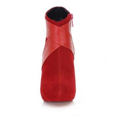 Stiletto Heel Zipper Suede Lace-up Cone Heel Round Boots On Sale_11