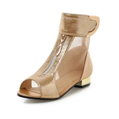 Mesh Hollow-out Peep Toe Summer Boots On Sale_7