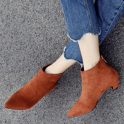 Chunky Heel Zipper Daily Pointed Toe Elegant Boots On Sale_7