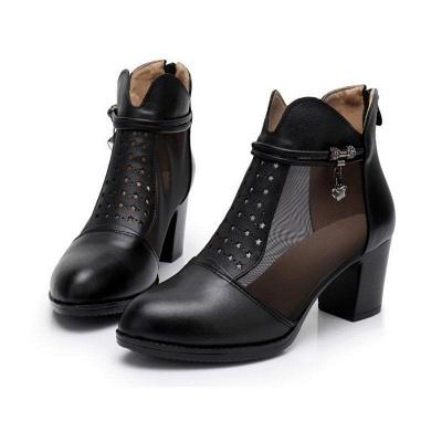 Beading Chunky Heel Round Toe Zipper Boots On Sale_1