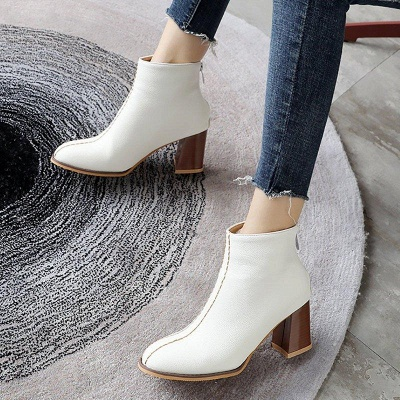 Chunky Heel PU Zipper Daily Pointed Boots On Sale_5