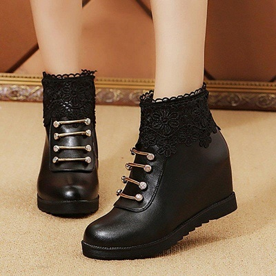 Zipper Daily Wedge Heel Round Toe Boots On Sale_3