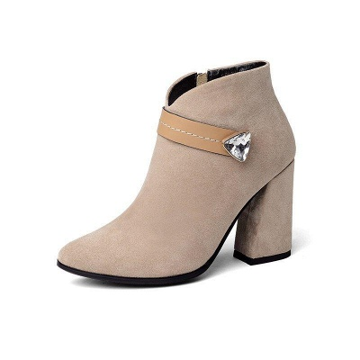 Zipper Chunky Heel Daily Suede Elegant Pointed Toe Boots On Sale_5