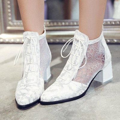 Zipper Chunky Heel Mesh Fabric Pointed Toe Boots On Sale_6