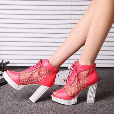 Chunky Heel Lace-up Peep Toe Boots On Sale_1