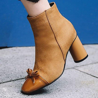 Daily Zipper Square Toe Bowknot Chunky Boots On Sale_3