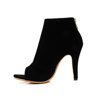 Suede Cone Heel Zipper Lace-up Peep Toe Boots On Sale_15