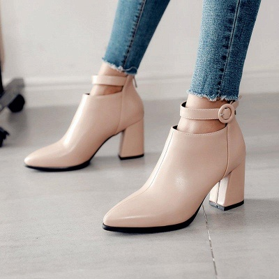 Chunky Heel PU Daily Tie Round Boots On Sale_3