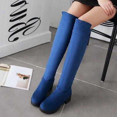 Suede Daily Chunky Heel Round Boots On Sale_3