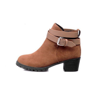 Buckle Chunky Heel Pointed Toe Elegant Boots On Sale_7