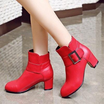 Chunky Heel Zipper Boots On Sale_8