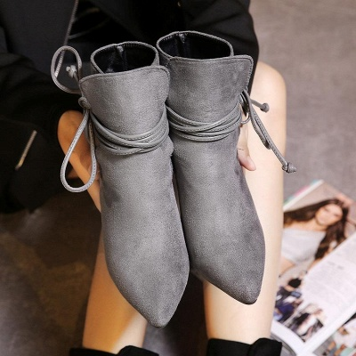 Women's Boots Ankle Boots Stiletto Heel Suede Shoes On Sale_7