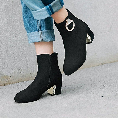 Zipper Daily Chunky Heel Pointed Toe Elegant Boots On Sale_5