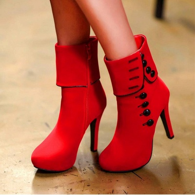 Women's Boots Mid-Calf Boots Stiletto Heel Suede Shoes On Sale_2