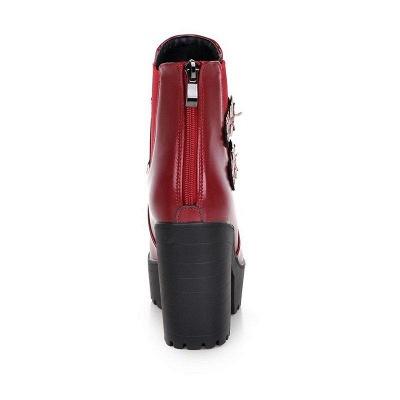 Buckle PU Chunky Heel Round Boots On Sale_9
