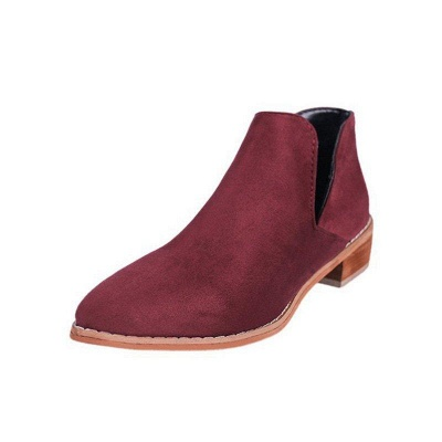 Chunky Heel Daily Pointed Toe Elegant Suede Boots On Sale_6