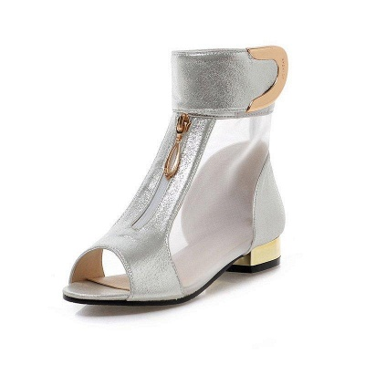 Mesh Hollow-out Peep Toe Summer Boots On Sale_8
